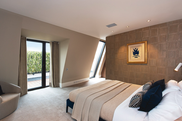 One of four generously sized bedrooms.  Two have access to a private terrace and all receive very good natural light.
